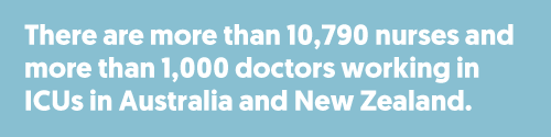 There are more than 10,790 nurses and more than 1,000 doctors working in ICUs in Australia and New Zealand.